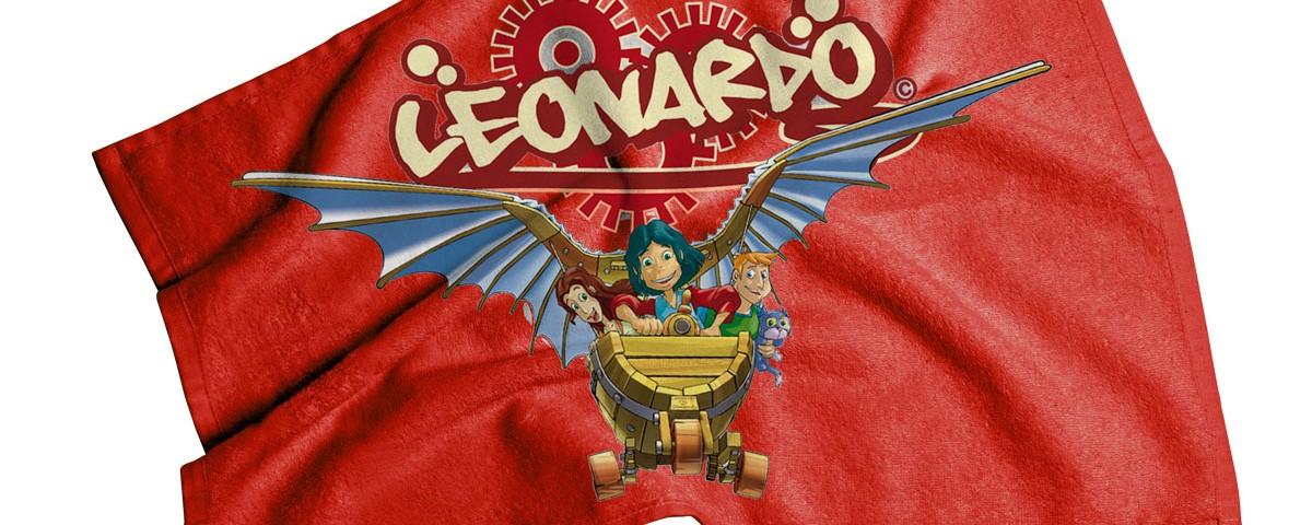 Telo mare in spugna di cotone stampato, Leonardo.